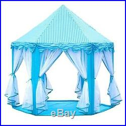 (Skyblue) Kids Play House Princess Tent Indoor and Outdoor Hexagon Pink