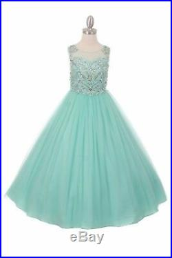 Sparkling Beaded Mint Princess Flower Girl Long Dress Party Pageant Wedding 5039