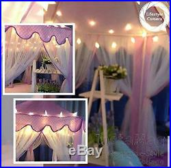 Sumbababy Princess Castle Play Tent Large Kids Play House with Star Lights Girls