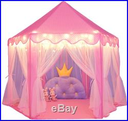 SweHouse Princess Tent for Girls Castle Play Tents for Kids with Star Lights, or