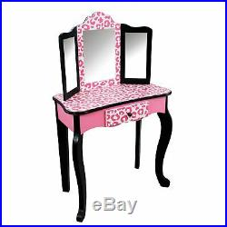 Teamson Kids Fashion Prints Girls Vanity Table and Stool Set with Mirror