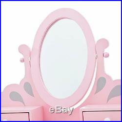 Teamson Kids Little Princess Rapunzel Kids Vanity Set with 3 Drawer and Mirro