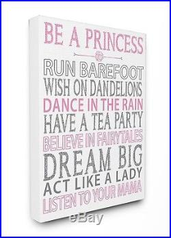 The Kids Room By Stupell Be A Princess Pink Typography Oversized Stretched