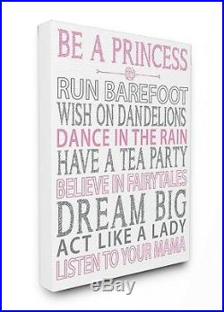 The Kids Room by Stupell Be A Princess Pink Typog Stretched canvas Wall Art