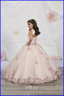 Tiffany Princess 13542 Rose Pink Stunning Girls Pageant Party Gown Dress sz 10