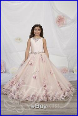 Tiffany Princess 13542 Rose Pink Stunning Girls Pageant Party Gown Dress sz 4