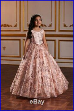 Tiffany Princess 13581 Rose Gold Girls Pageant Gown Dress sz 10