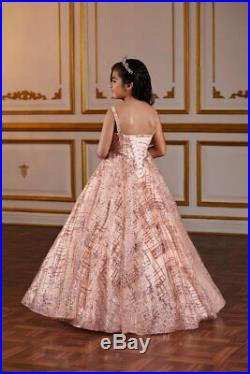 Tiffany Princess 13581 Rose Gold Girls Pageant Gown Dress sz 6