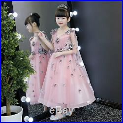 V-neck Flower Girl's Wedding Evening Lace Up Holy Communion Kids Pageant Dresses