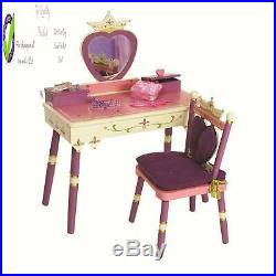 Wildkin Kids Princess Wooden Vanity And Chair Set For Boys And Girls, Vanity Fea