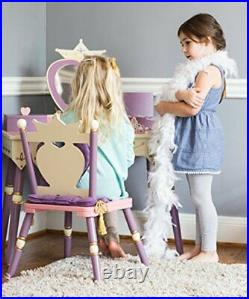 Wildkin Kids Princess Wooden Vanity and Chair Set for Boys and Girls Vanity F