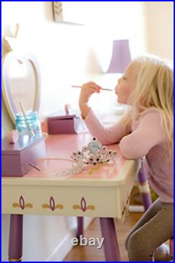 Wildkin Kids Princess Wooden Vanity and Chair Set for Boys and Girls, Vanity and