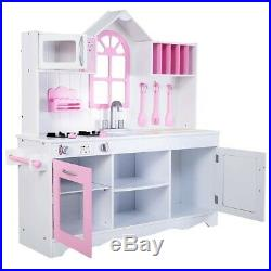 Wood Toy Solid Kitchen Kids Pink Princess Cooking Pretend Play Set With Utensils