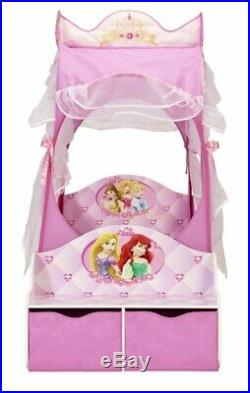 Worlds Apart Disney Princess Carriage Toddler Bed with Storage, Kids Cot Bed